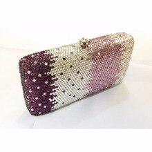7764CP Purple color in gradual effect Crystal Lady fashion Bridal Party Metal Evening purse clutch bag case box handbag
