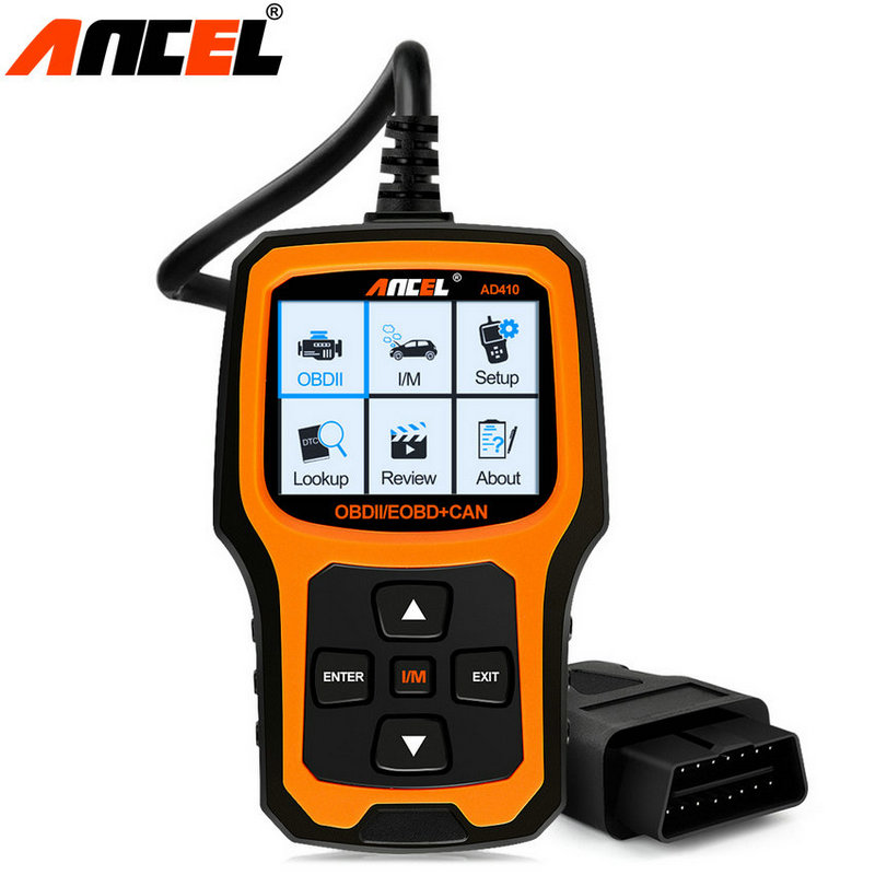 OBD2 Scanner Car Code Reader OBD Automotive Scaner OBDII Vehicle Ancel AD410 in Russian OBD 2 Diagnostic Scan Tool PK ELM327 ft232rl chip real elm327 v1 5 plastic obdii eobd canbus scanner automotive obd2 scan tool elm 327 v 1 5 usb diagnostic tool