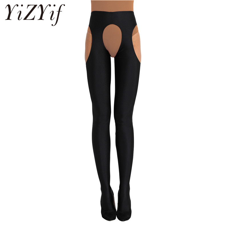 YiZYiF <font><b>Women</b></font> <font><b>Sexy</b></font> leggings <font><b>Open</b></font> <font><b>Crotch</b></font> Lady <font><b>erotic</b></font> Leggings Hollow Out Long <font><b>Erotic</b></font> <font><b>Lingerie</b></font> Night Suspender <font><b>Sexy</b></font> Leggings image