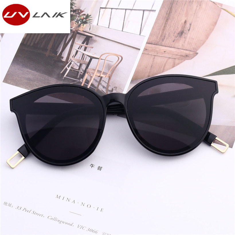 UVLAIK Fashion Brand Designer Cat Eye Women Sunglasses Oversized Sun Glasses Cat eye Vintage Female Eyewear Goggles