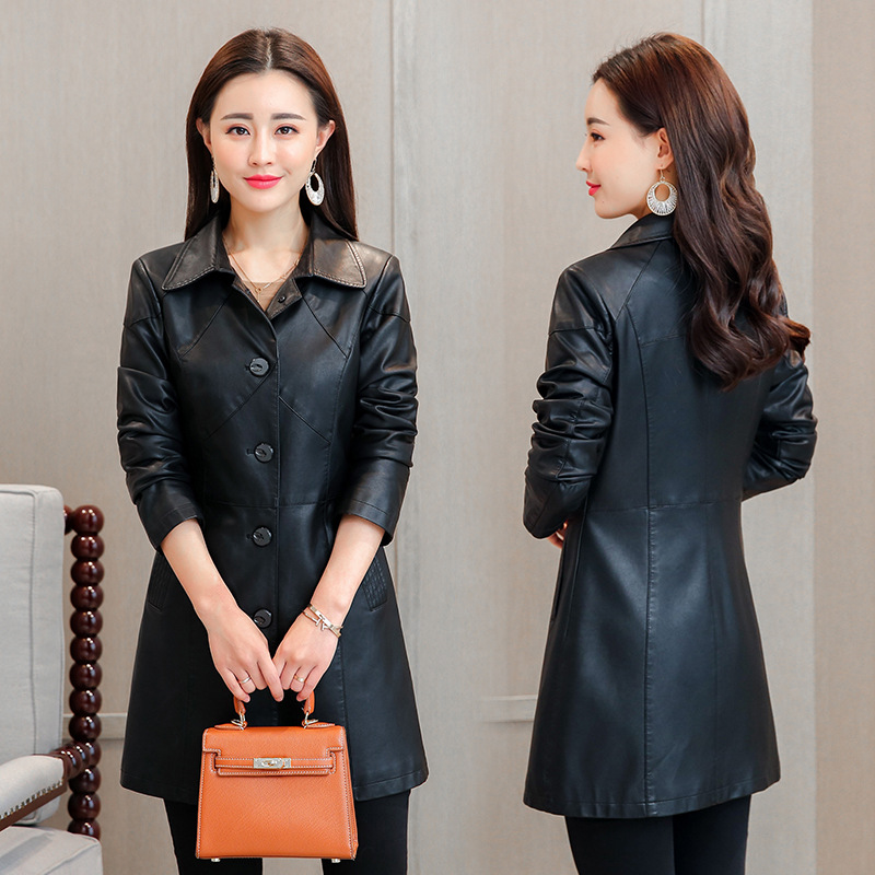 2018 New Women M-4XL Plus Size   Leather   Jacket Fashion Turn Collar Single Breasted Hihg Quality PU   Leather   Jacket Coat Outwear