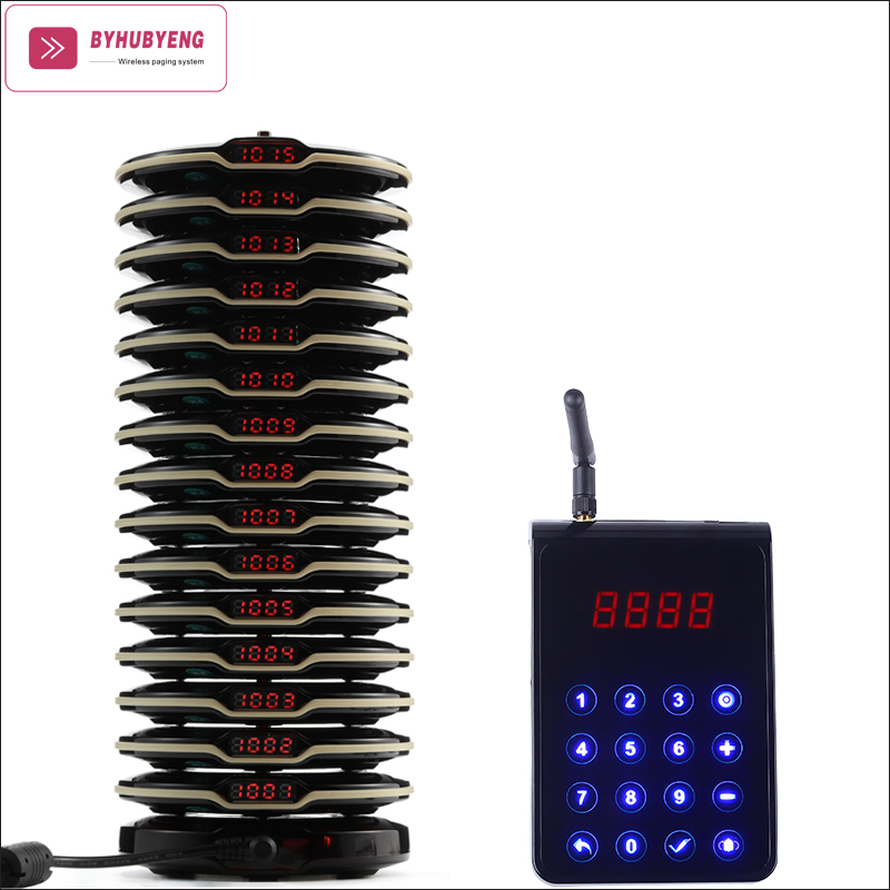 BYHUBYENG Wireless Paging System For Restaurant Factory Price Ring Service Bell Distance 3KM Over 10 Floors