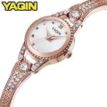 Купить с кэшбэком YAQIN fashion women watch with diamond gold watch ladies top luxury brand ladies jewelry bracelet watch relogio feminino