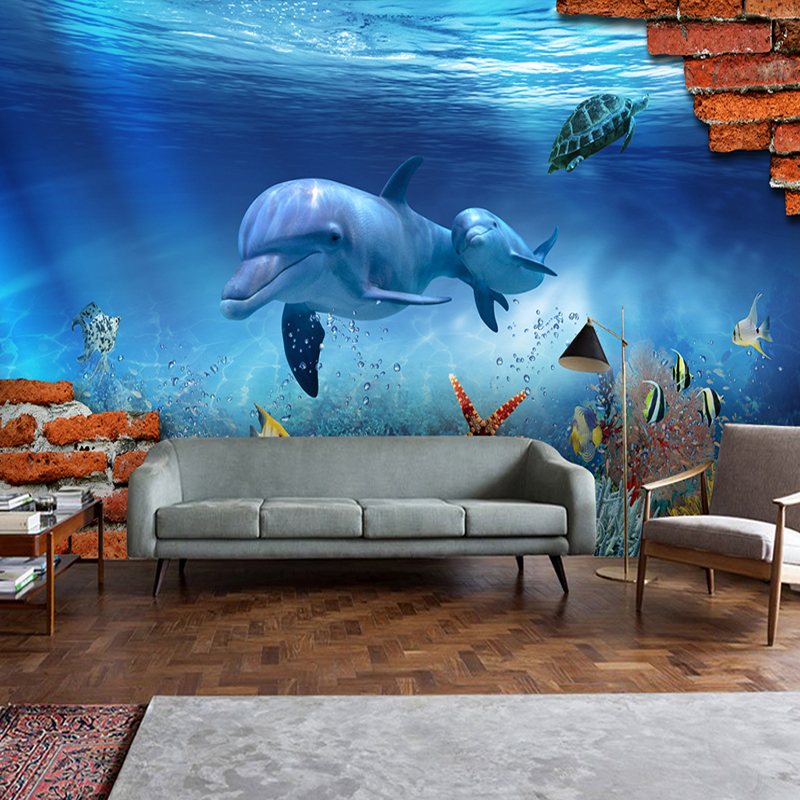 Custom Any Size 3D Stereoscopic Underwater World Dolphin Starfish Turtle Brick Wall Mural Background Photo Wallpaper De Parede