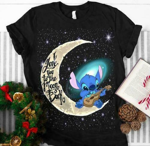 Stitch I Love You To The Moon And Back Black T Shirt M 6 Xl