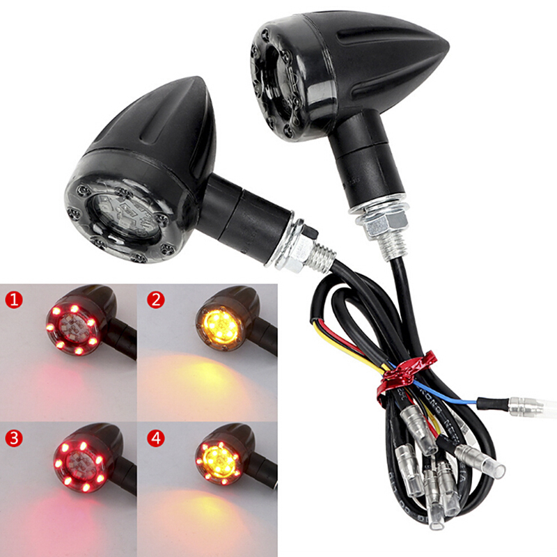 1pc Motorcycle Turn Signal Light Brake Stop Lights 12V 6LED Amber And Red Indicator Lamp