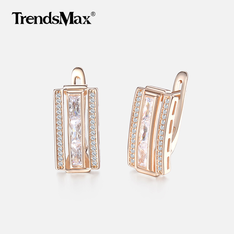 Rectangle Paved Cubic Zirconia CZ Earrings For Women 585 Rose Gold Women's Stud Earrings Fashion Jewelry Valentines Gifts KGE130