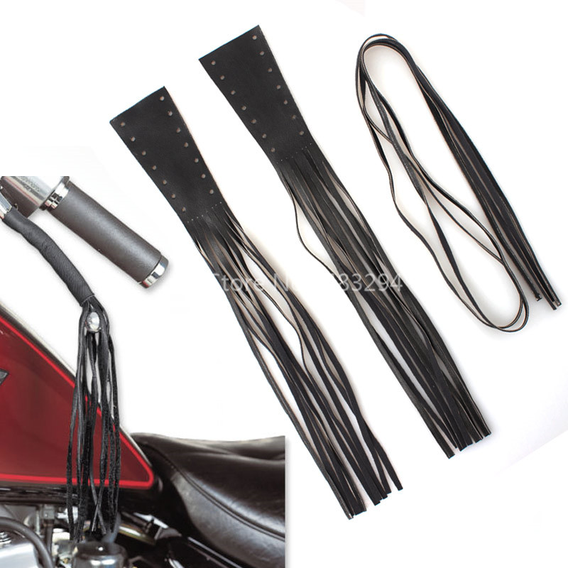 "Black 12/"" Leather Motorcycle Brake Lever Covers Biker Clutch Fringe Long Tassels"