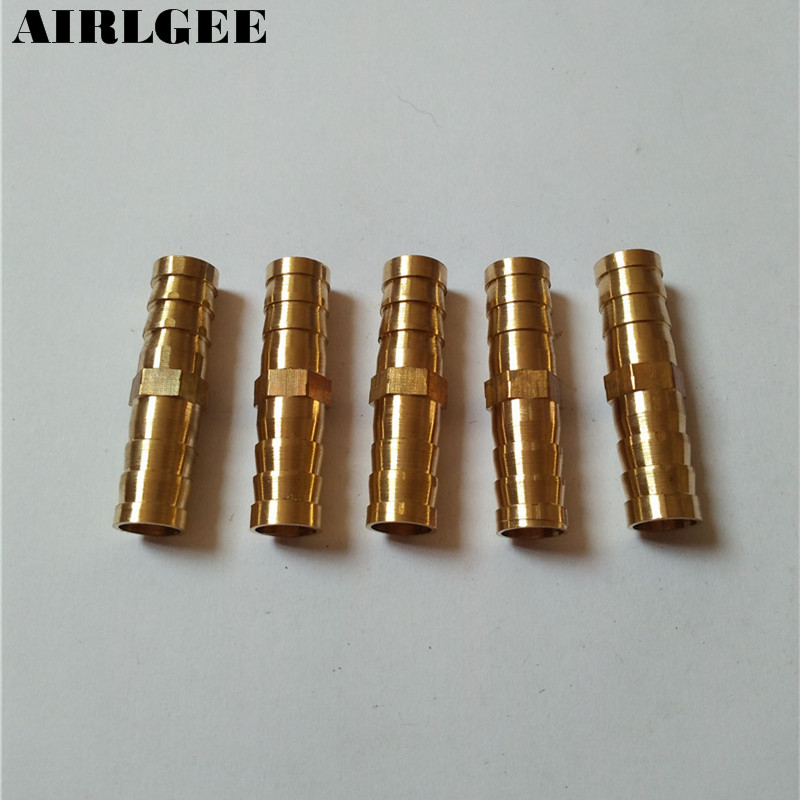 цены 5 Pcs Pneumatic Air Hose Fitting 10mm Brass Straight Barb Adapter Coupling