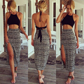 Gamiss Sexy National ethic floral print feminino sets halter mini tops and long skirts women summer two peices suits casual sets