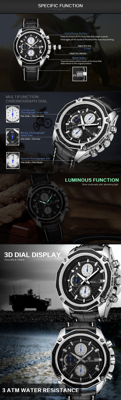 Genuine MEGIR quartz male watches Genuine Leather watches racing men Students game Run Chronograph Watch male glow hands (4)