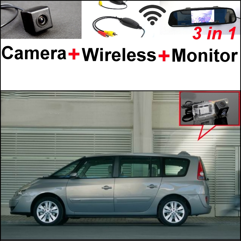 3 in1 Special Camera + Wireless Receiver + Mirror Monitor EASY DIY Parking System For Renault Espace 4 2003~2014 1 18 otto renault espace ph 1 2000 1 car model reynolds
