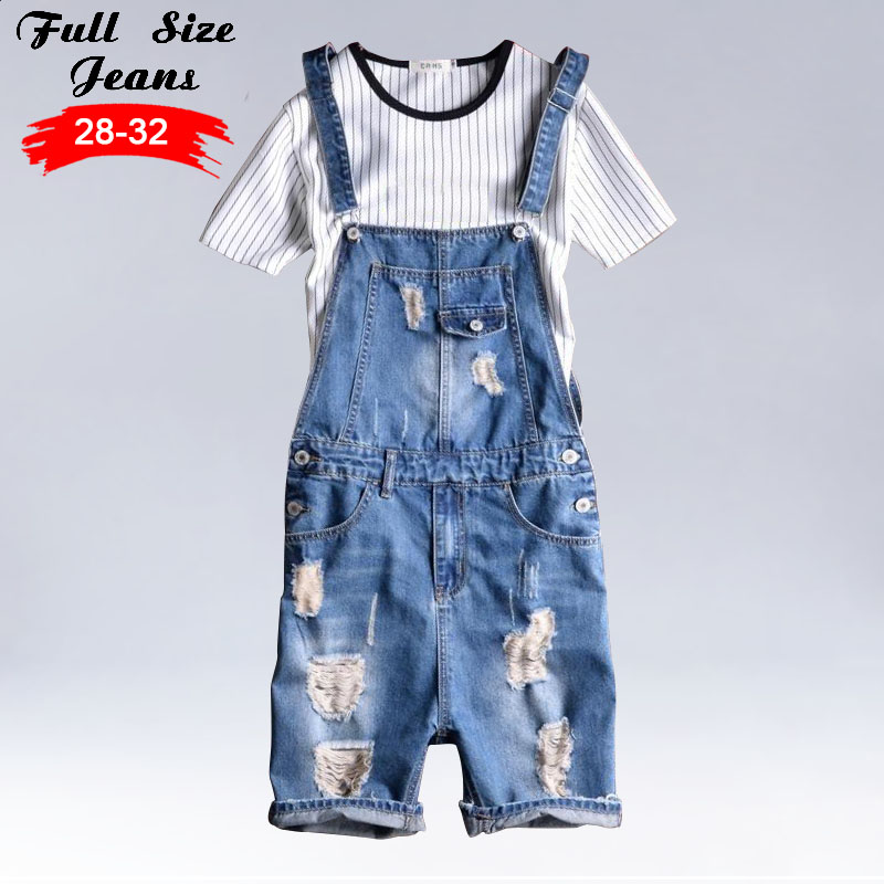 Kinsaga MenS Vintage Summer Light Blue Plus Size Ripped Denim Bib Overalls 4Xl 5Xl Male Short Knee Length Bermuda Jeans