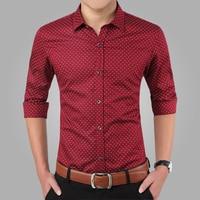 2016 New Spring Men Shirts Casual Slim Fit Long Sleeve Shirt For Male Designer Print Camisa