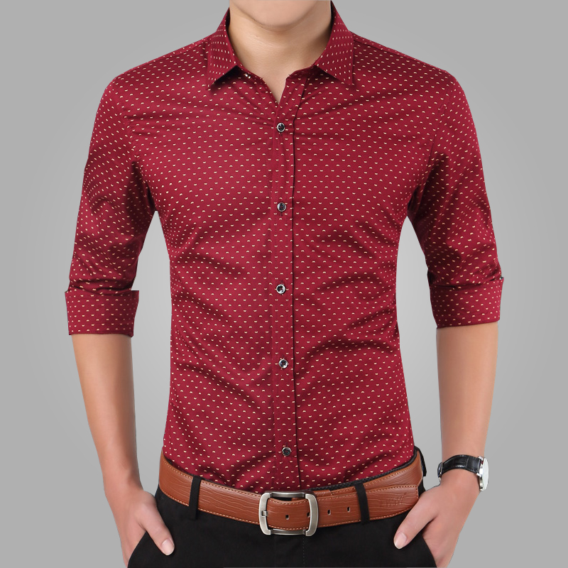 2018 New Spring Men Shirts Casual Slim Fit Long Sleeve Shirt For Male designer Print Camisa Brand Dress Shirt Big Size M~5XL CA3