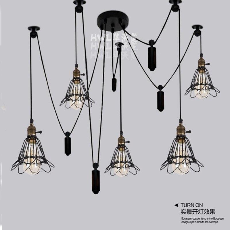 Lâmpada conduzida E27 Luzes do Candelabro Luminária Iluminação Suspensão de  Polias de Ferro Loft Industrial Do Vintage Aranha 6 Lâmpada Sala de estar 4e1f800e0a