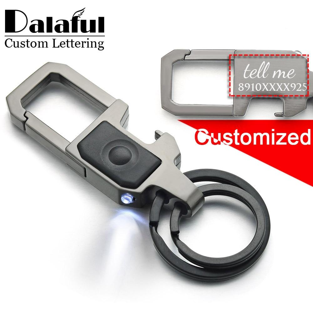 Dalaful Custom Lettering Keychain LED Lights Lamp Beer Opener Bottle Engrave Name Customized Logo Key Chain Ring Men Car K378