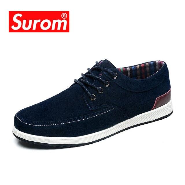 SUROM zapatos de los hombres marca de lujo zapatos hombre casual mocasines cuero zapatos de moda otoño primavera mocasin hombre shoes