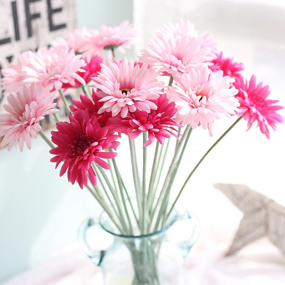 10pcslot Long Gerbera Artificial Flower Bouquet Real Touch Flowers