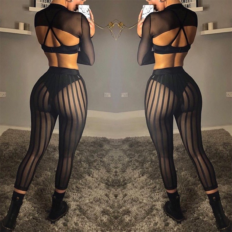 Sexy Striped Mesh Women Pencil Transparent   Pants   Summer Casual High Waist Trousers Black Joggers Leggings