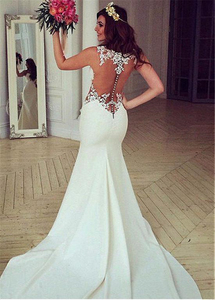 Image 5 - Exquisite Jewel Neckline Natural Waistline Mermaid Wedding Dress With Lace Appliques Cutout Side Sexy Open Back Bridal Gown