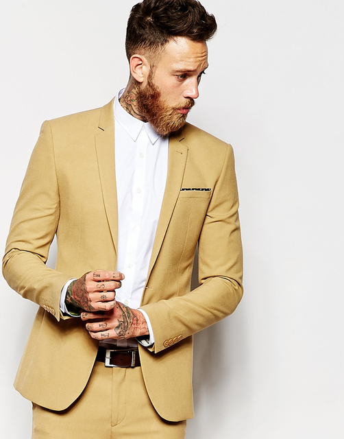 Casual Gold Man Suit Slim Fit Groom Tuxedos 2 Piece Mens Wedding ...