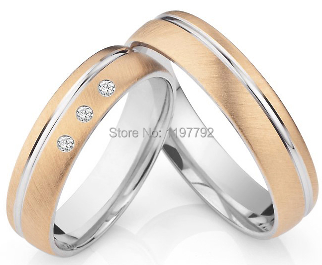лучшая цена luxury custom size rose gold colour titanium couples ring sets his and hers wedding bands for anniversary