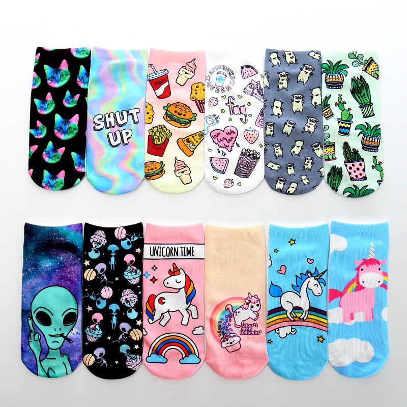 2019 New Aliens Animal Unicorn 3D Printing Sock Cute ET 3D Print Socks Women Ankle Socks Chaussette Art Socks For Female
