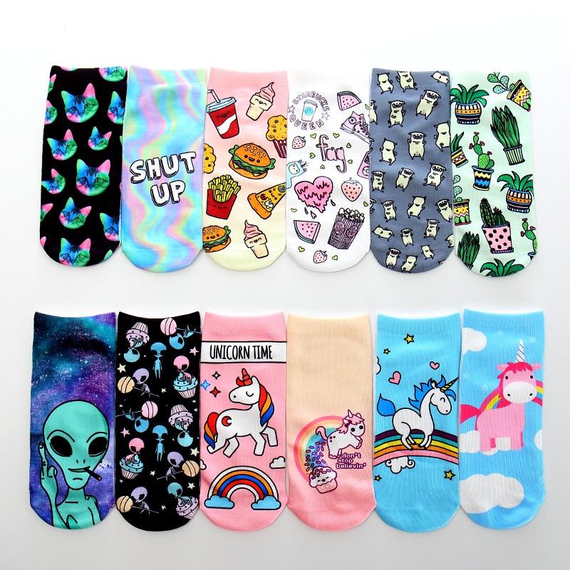 2019 New Aliens Animal Unicorn 3D Printing Sock Cute ET 3D Print Socks Women Ankle Socks Chaussette Art Socks For Female