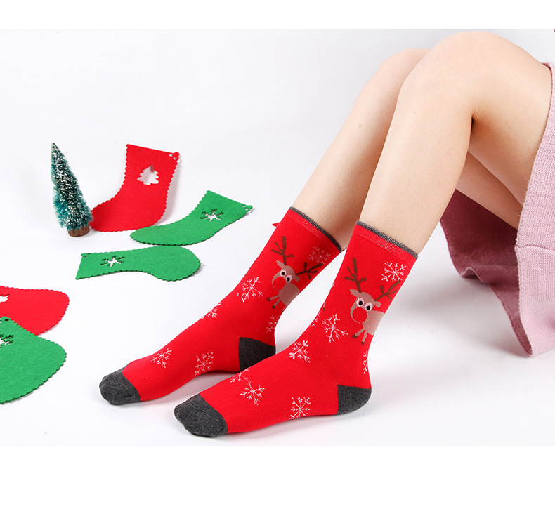 Christmas Themed Children Pure Cotton Cartoon Jacquard Socks Red Christmas Baby Socks Absorb Sweat Permeability Socks 4PCS/SET