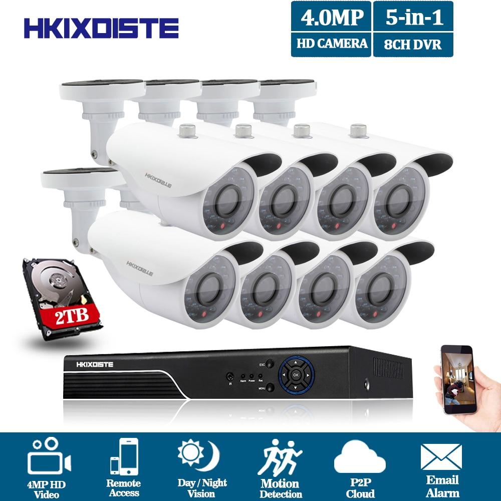8CH CCTV System 5MP NVR DVR 2TB HDD 8PCS 2560*1440P IR Outdoor Weatherproof CCTV Camera Home Security System Surveillance Kits цена 2017