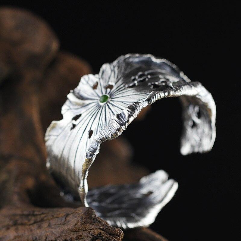 Brazaletes de jade de plata de ley 990, hojas de loto hechas a mano, brazaletes de jade de jaspe hetiano natural para mujer, dijes, regalo de joyería-in Pulseras y brazaletes from Joyería y accesorios    1