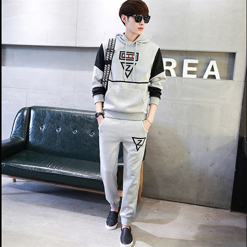 Casual sporting suit men hooded tracksuit track hidden suspenders Black mens sweat suits set Pockets white Z print large size