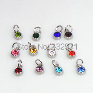 Fashionable Birthstone Jewelry Gold Silver Dangle Charms For Diy Bracelet And Necklack