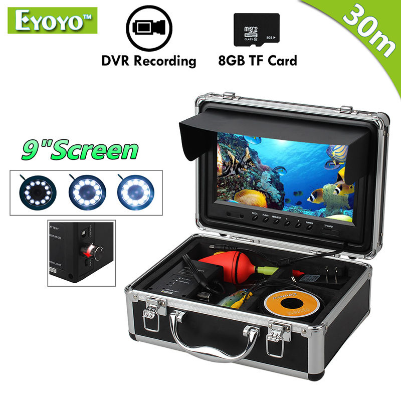 Eyoyo Original 30M Fishing Camera Underwater Fish Finder 9 LCD Monitor HD 1000TVL Video Camera DVR Video Recording White LED 7 lcd monitor hd 1000tvl waterproof 100m cable rechargeable battery fish finder underwater fishing video camera with led