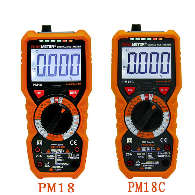 Digital Multimeter Multimetro PM18 Voltage Current Tester Resistance Tester Capacitance Frequency Temperature hFE NCV multimeter new ms8221c digital multimeter auto manual ranging dmm temperature capacitance hfe tester