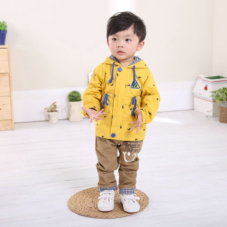 Anlencool 2017Baby clothes set  baby clothing spring new Korean version of the three-piece embroidered whale free shipping
