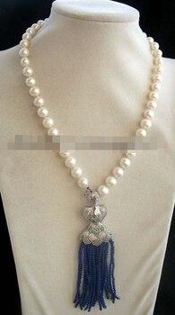 "Miss charm Jew1707 freshwater pearl white round & lapis lazuli peafowl clasp necklace 18"""