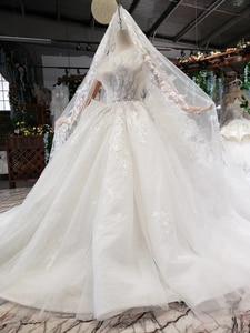 Image 3 - HTL496ドバイ王女のウェディングドレスフリルロングトレイン特別なストラップレスブライダルドレス結婚式ベールsukienka biala