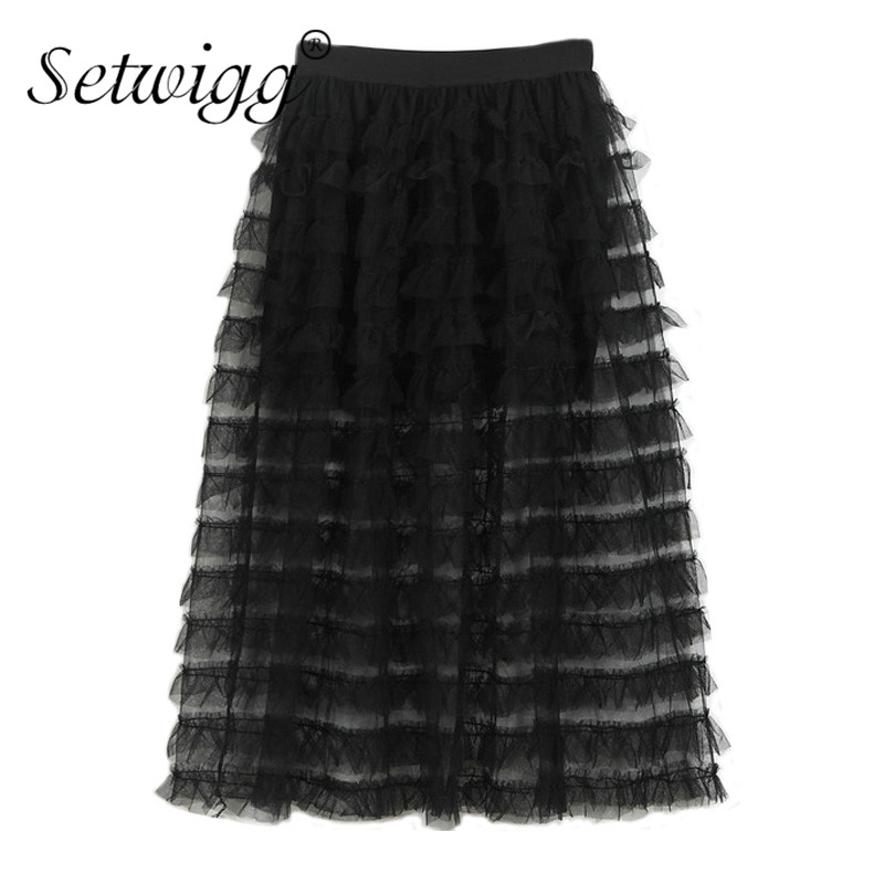 SETWIGG Summer Flounced Tiered Tulle Perspective Long Skirts Elastic Waist Mesh Patchwork Layers Skorts lined A-line Long Skirts