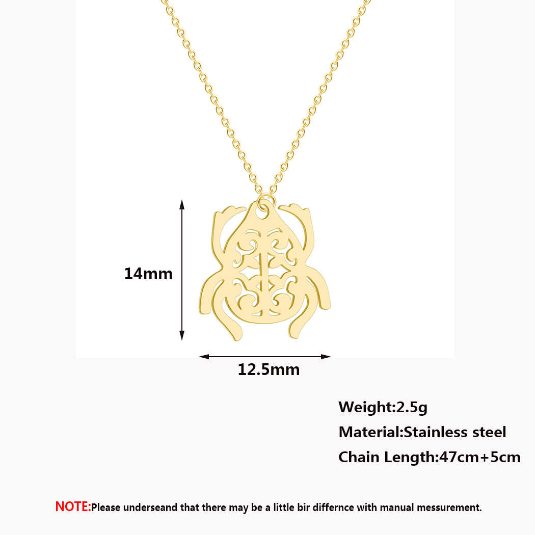 QIMING Inspired Scarab Pendant Necklace Women Minimal Insect Egyptian Amulet Stainless Steel Jewelry Accessories Men Necklace