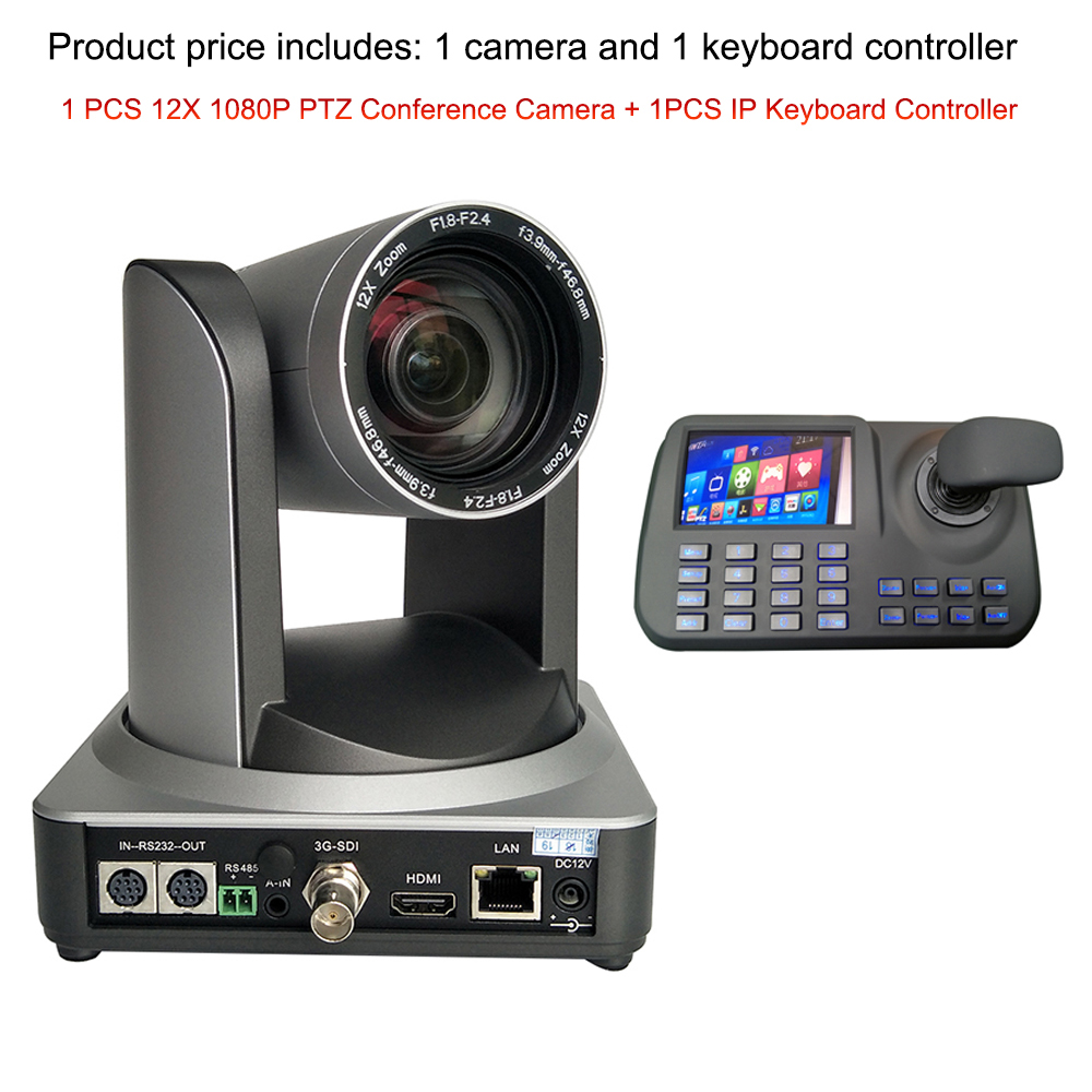 Video Conference System Producer 1080P60fps Ptz Ip Hdmi Sdi Video Conference Camera With 3D Joystick Rj45 Keyboard Controller