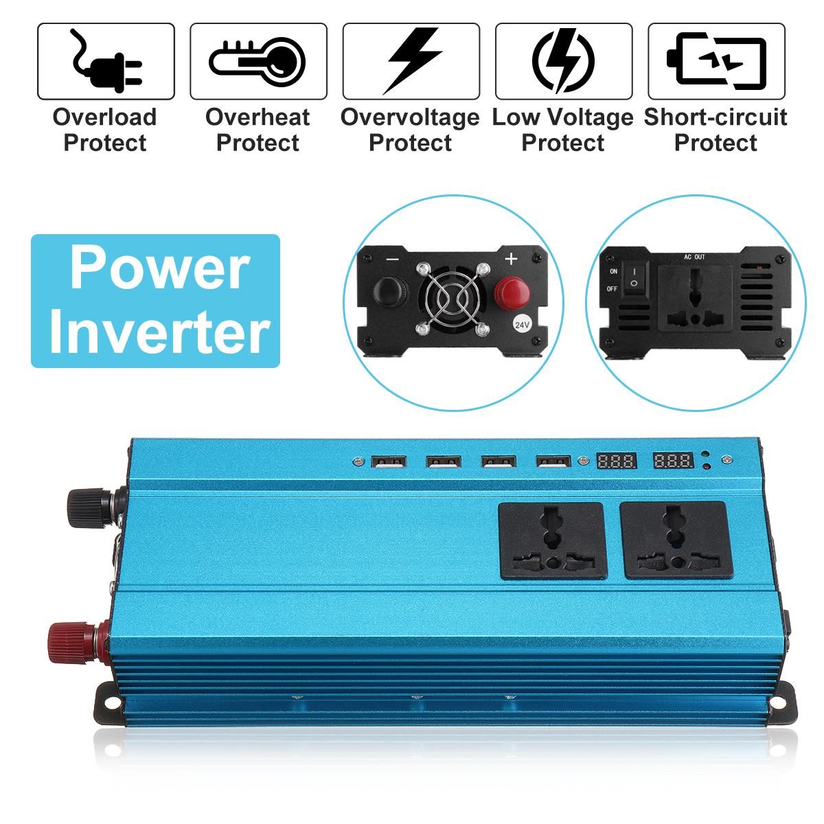 2000W Solar Power Inverter 12V 220V DC-AC Sine Wave Car Inverter Voltage Converter Adapter Charger Transformer Inversor 12V 220