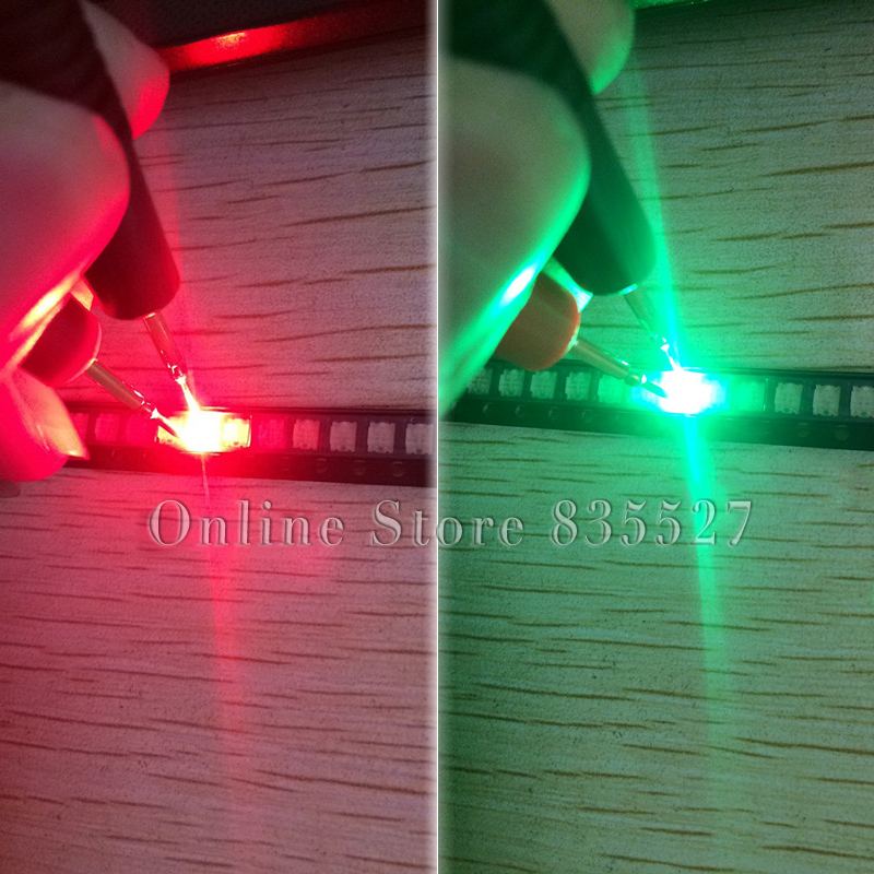 1000pcs/lot Lamp Beads 1206 3227 1210 4 Pin Feet Red + Emerald Green Two-color Double Colour Light-emitting Diode SMD LED S