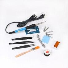 60w Adjustable Temperature Soldering Iron Kit+5 Tips+Soldering Iron Stand +Tweezers+ Solder Wire Soldering