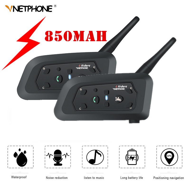 2019 VNETPHONE V6 Intercom 850mAh Bluetooth KTM Motorcycle Intercom Headset Helmet Speaker 1.2km Dual Pack