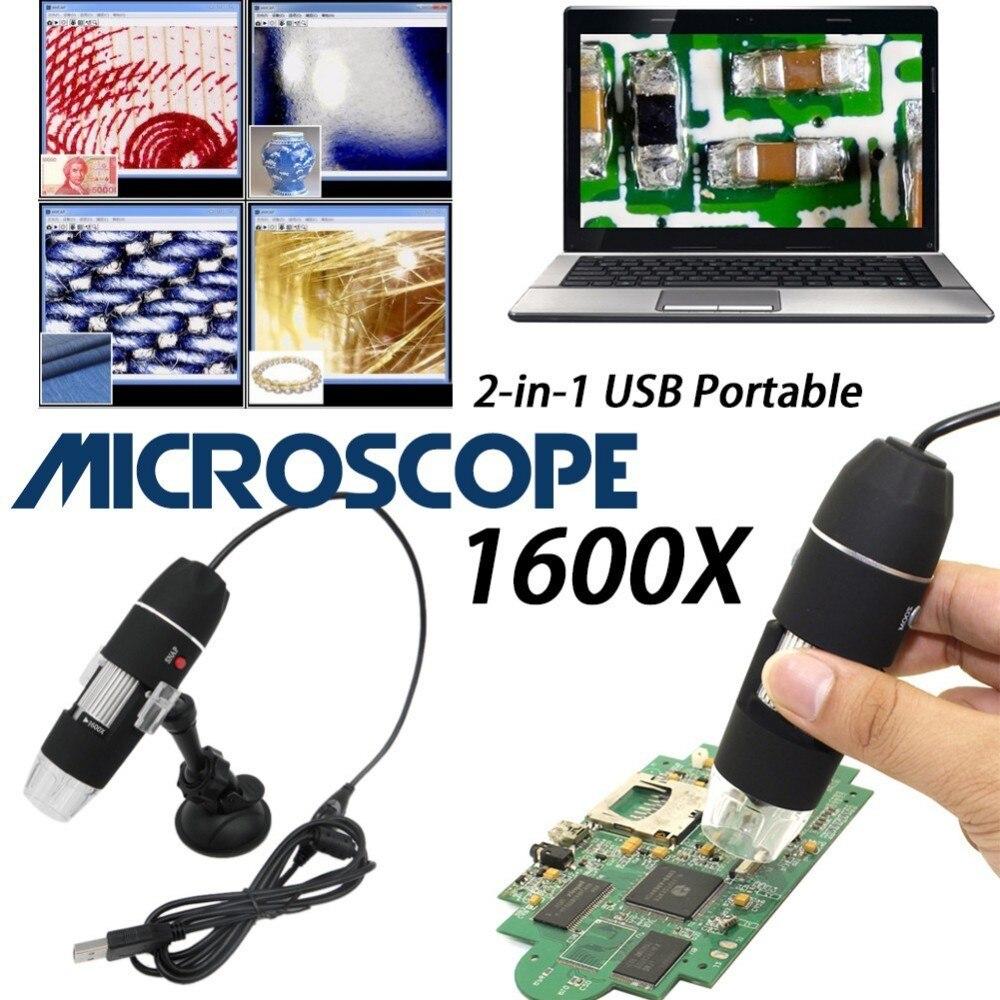 1600X1000X500X8 LED USB Microscope numérique Endoscope caméra Microscopio loupe avec support Microscope monoculaire électronique