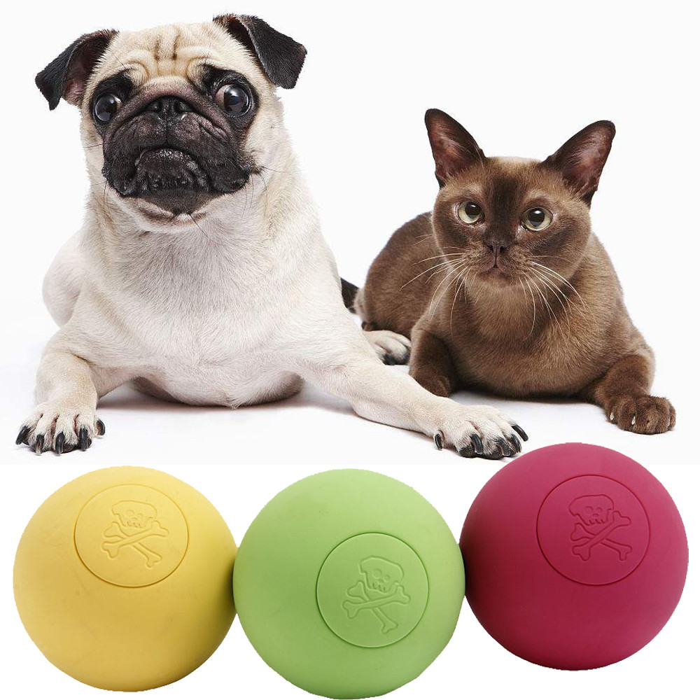 Pet Cat Dog Toy Rubber Ball Solid Training Puppy Kitten Chew Playing Balls Outdoor Fetch Bite Funny Toys Dropship F531