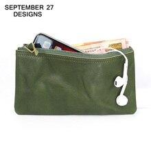Женский Длинный кошелек из натуральной кожи, модные тонкие бумажники на молнии, из воловьей кожи, для телефона, маленький дамский держатель для мелочи
