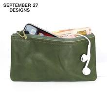 Portefeuille en cuir véritable pour femmes, portefeuille Long, à la mode, à fermeture éclair, porte monnaie en cuir de vache, petite taille, sac à monnaie